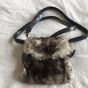 Celine fur crossbody pouch purse
